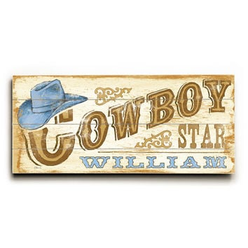 Personalized Kids Cowboy Wood Sign