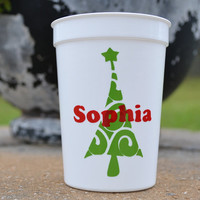 5 whimsical green Christmas trees with personalized in red