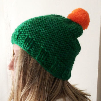 Hand Knitted Hat, Slouchy  Hatwith Pompom ,Hand Dyed Wool
