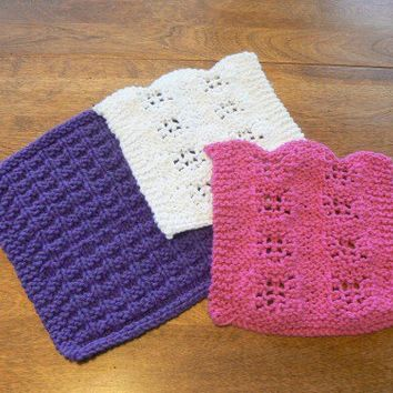 Purple Raspberry and White Hand Knit Mini Washcloths or Dishcloths Set of three
