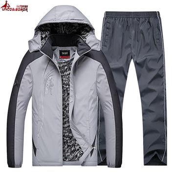 UNCO&BOROR Winter jacket Men brand Sporting Suit Hoodies parka coat Thick Sweatsuit Two Piece Set Tracksuit For Men Clothing