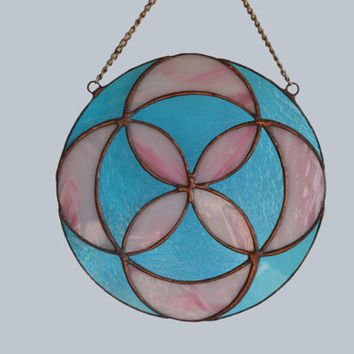 Round Stained Glass Panel with geometric design in sky blue and pink, Sacred geomerty Suncatcher, Window decoration or Wall Art Glass Decor