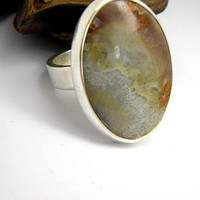 Silver lace agate ring, crazy lace agate in sterling silver Ring size 7, lace agate brown beige orange, earthy colors statement ring, large