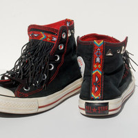 "The ""Navajo"" Leather Fringe Studded Converse Allstars - Black - Coachella Festival Boho"