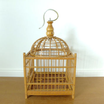 Square bamboo birdcage with domed top and metal hanging hook