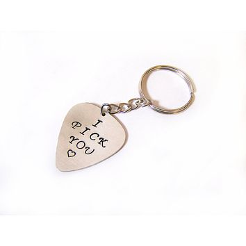 Custom Hand Stamped Silver, Brass or Copper Guitar Pick Keychain / Gift for Him