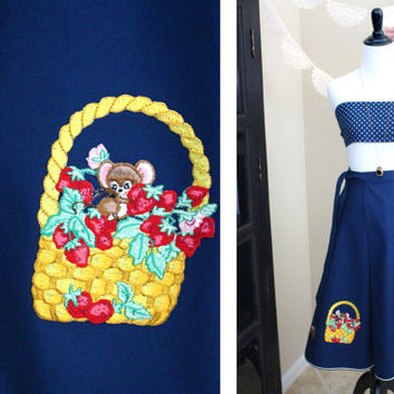 Vintage 1970's Shirley Gadol Navy Blue A-Line Wrap Skirt with Mice, Berries and Basket Patch Applique + SMALL / MEDIUM / LARGE