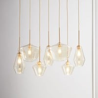 Sculptural Glass Geo 7-Light Chandelier - Mixed
