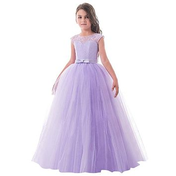 Flower Girls Dresses For Girl Clothes Tulle Lace V-back Princess Wedding Party Dress Vestidos Teens Children Kids Ceremonies