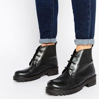 Park Lane Chunky Worker Lace Up Leather Ankle Boots