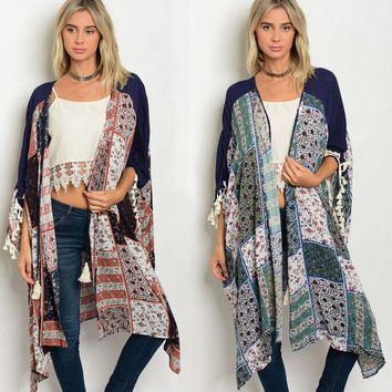 Chic Patchwork Hippie Long Tassel Kimono Cardigan Shawl Wrap Boho Gypsy Jacket
