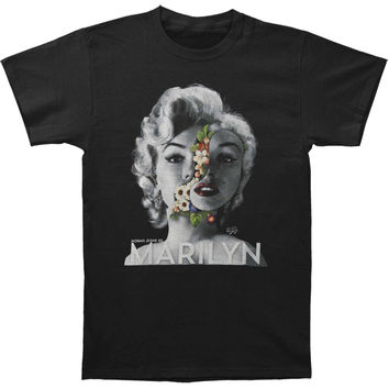 Marilyn Monroe Men's  Face Flowers Slim Fit T-shirt Black
