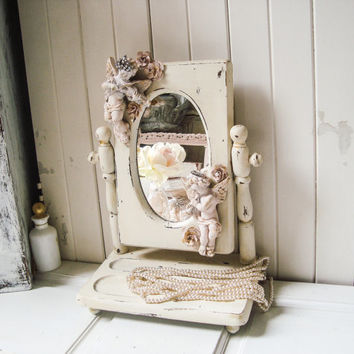 Vintage Cherub Mirror, Wooden Vanity Mirror with Adorned Cherubs and Roses, Shabby Chic Unique Free Standing Swivel Mirror, Gift Ideas