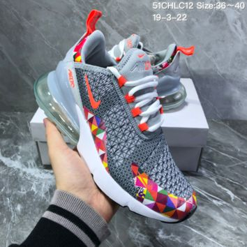 DCCK2 N1110 Nike Air Max 270 Mesh Breathable Half palm high elasticity Sports Running Shoes Gray Colorful