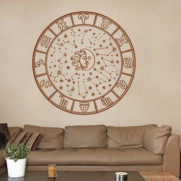 ik1564 Wall Decal Sticker Sun Moon Star constellation horoscope room Bedroom