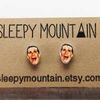 American Psycho Earrings - Patrick Bateman Studs - Bret Easton Ellis