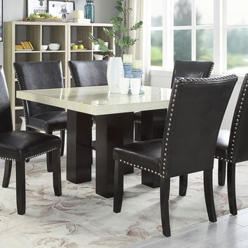 Poundex F2463-1779 7 pc Donnie black finish wood square faux marble top dining table set