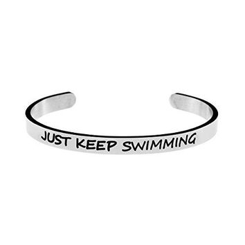 Inspirational Bracelet Personalized Quote Cuff Bangle 316 Stainless Steel Jewellery Saying Just Keep Swimming