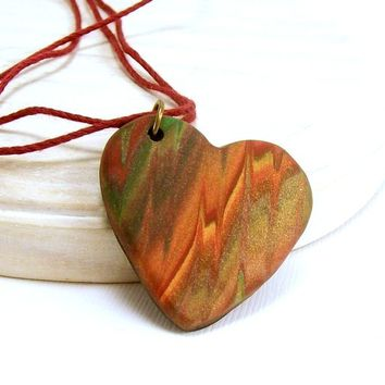 Autumn Heart Pendant Necklace, Clay Heart Necklace, Fun Jewelry, Art Jewelry, Vacation Jewelry, Affordable Handmade Polymer Clay Jewelry