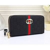 Gucci Women Leather Double Zipper Purse Wallet Black I