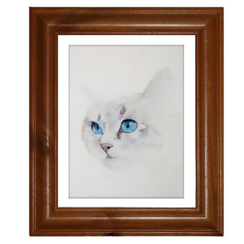 Cat Painting, Silver Tabby Cat Art Print on Watercolour Paper, Free Shipping