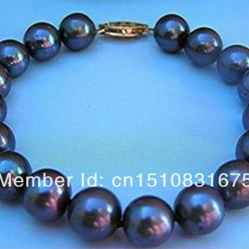 "8-9Mm Tahitian Black Pearl Bracelet 7.5""-8Inchxu22"