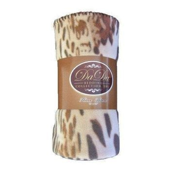 DaDa Bedding Brown Leopard Cheetah Soft Polar Fleece Throw Blanket (70742)