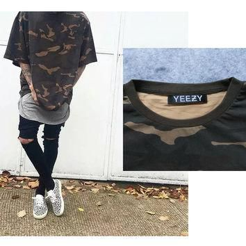Oversized YEEZY T Shirt Men Fashion Men Clothes Kanye West Camo Camouflage Urban Yeezy