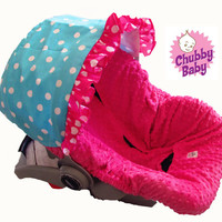 Infant Car Seat Cover, Baby Car Seat Cover in Pink Polka Dots, Ruffle is included