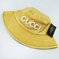 GUCCI Fashion New Embroidery Letter Women Men Sunscreen Leisure Cap Hat Yellow