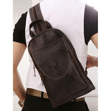 Men Genuine Leather Crossbody Chest Day Pack Vintage Sling Shoulder Messenger Travel Bag Crocodile Pattern Design Male Backpack