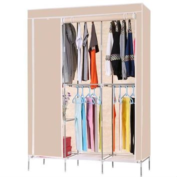 Beige 68-inch Portable Closet Wardrobe Clothes Rack Storage Shelf
