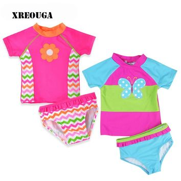 Newborn Baby Bikini Sets Girl Swimsuit Infant Bathing Suits Summer Girls two Pieces Swimwear Shorts+Pants Beach T-shirt AM03