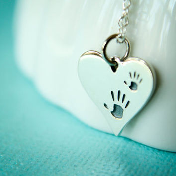 Little Handprint Heart Necklace in Sterling Silver - Two Handprints, Mother Child Handprints