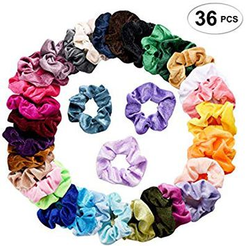 SEVEN STYLE 36 Pcs Hair Scrunchies Velvet Elastic Hair Bands Scrunchy Hair Ties Ropes Scrunchie for Women or Girls Hair Accessories - 36 Assorted Colors Scrunchies (36 PCS Velvet Hair Scrunchies)