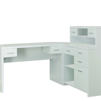 White Hollow-Core L Shaped Home Office Desk