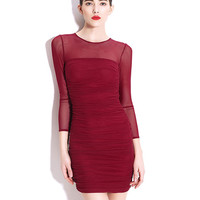 Wine Red Ruched Sheer Mesh Long Sleeve Bodycon Dress
