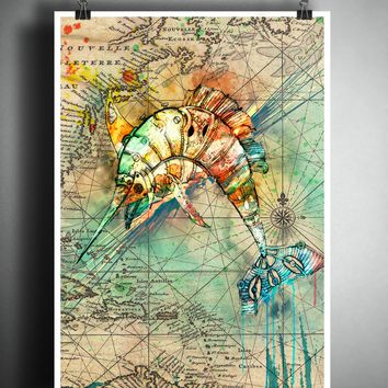 Swordfish splatter art, colorful beach decor, old map artwork