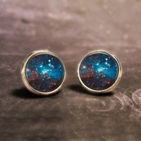 Space Stud Earrings - Sparkly Outter-Space Silver Post Earrings - Ships 3/21