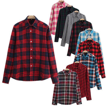 Women Fashion Plaid Shirt Long Sleeve Cotton Blouse Tee Shirt Femme Top Blazer Tartan Office Clothes Blusas Plus Size 5XL CG112