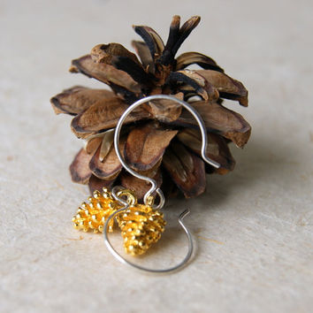 Gold Pine Cone Earrings - Pine Cone Earrings - Pinecone Earrings - Woodland Fashion - Autumn Fashion