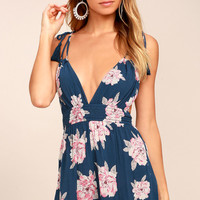 We Found Love Denim Blue Floral Print Romper