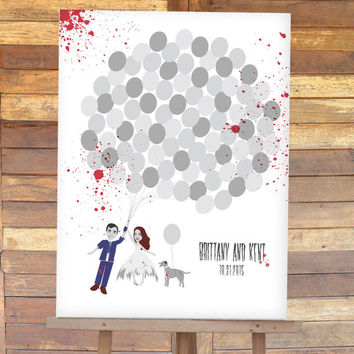Halloween Wedding Guest Book Alternative with Zombie Bride, Zombie Groom, and Zombie Pet wedding sign