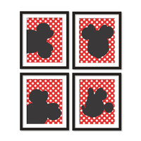 Kids artworks- room decor- minnie mouse silhouette- red polka dots - four arts