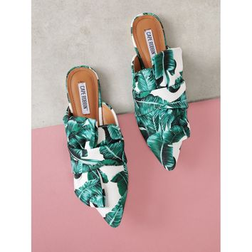 Tropical Print Pointed Toe Mule Flat with Bow
