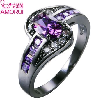 AMORUI Vintage Black Gold Color Purple CZ Wedding Rings for Women/Men Jewelry Birthstone Engagement Ring Bijoux Gift Bague