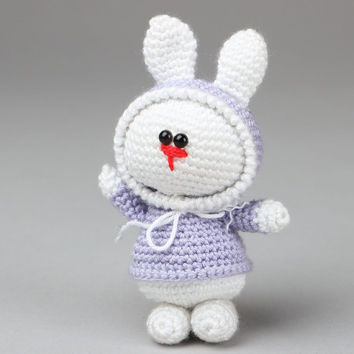 Crocheted handmade toy bunny soft author's beautiful present original rag doll