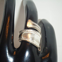 Size 5 Vintage Silver Plated Spoon Ring