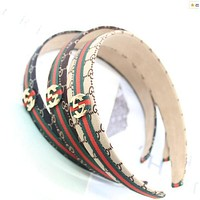 GUCCI Fashionable Retro Art Green Red Stripe Wide Edge Hair Hoop