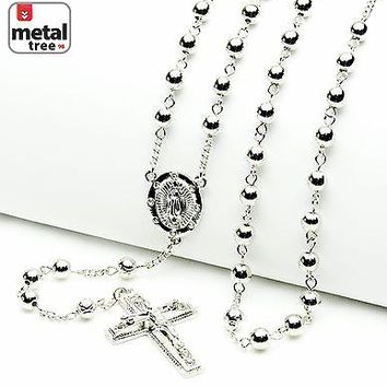 "Jewelry Kay style Luxury Fashion Silver Bead Guadalupe & Jesus Cross 28"" Rosary Necklace HR 600 S"